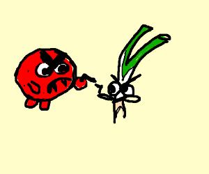 Pepperoni monster vs Green onion monster