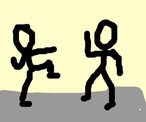 two people about to fight (fighting position)