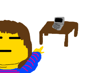 Muscular Frisk points at laptop