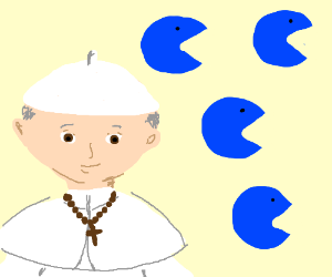 Pope smiling at blue pacmans