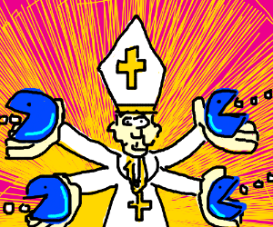 The pope and four blue pacmen