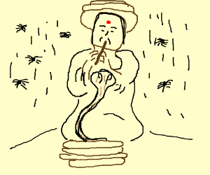 A swami with a pit snake and spider rain