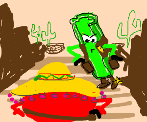 Tomato and Celery in Mexican Standoff