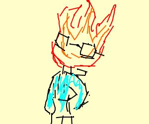 Grilby (undertale) wearing a blue hoodie
