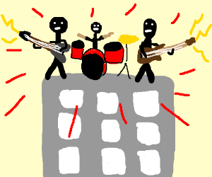 """rock band on a tower with """"power"""""""