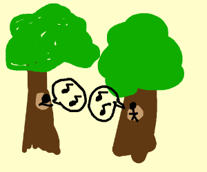 tree-dwelling people whistling using whistle