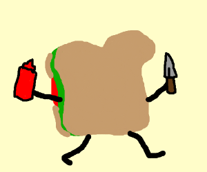 psycho sandwhich runs with knife ketchup