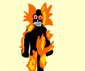 Burned alive human feels the pain