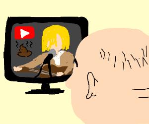 Balding man watches 'Poop Nirvana' on Youtube