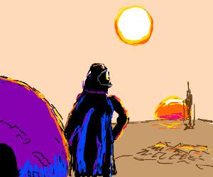Darth Vader w/ Motorbike helmet admires sunset