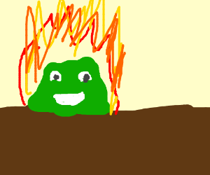 Swamp Monster that is happily on fire