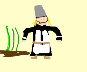 Pilgrim Lady with Bucket on Head