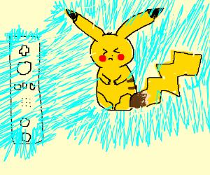 Pikachu shocks wii controller