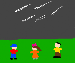 children watching the shooting stars