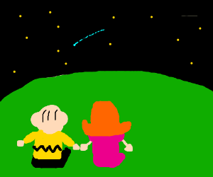 Charlie Brown and Heather watch shooting star