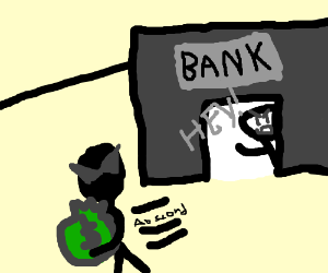 ninja robs bank