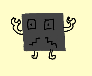 Square robot with a mustache