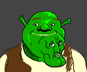 Shrek is growing a handsome shrek on his face