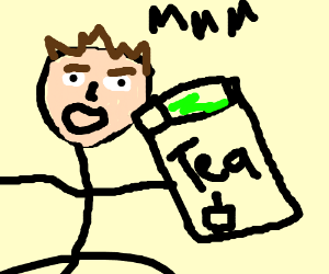 Man drinking tea in a box