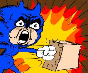 crazy sonic punches a cardboard box