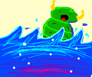 Underwater horned caterpillar rising