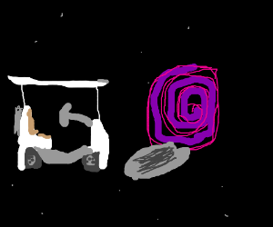 Golf cart driving through space to next hole