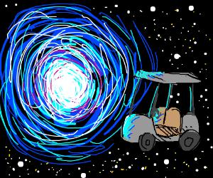 A golf cart next to a vortex.