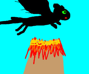 Toothless flying above a volcano