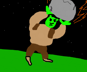 Shrek stops a meteor