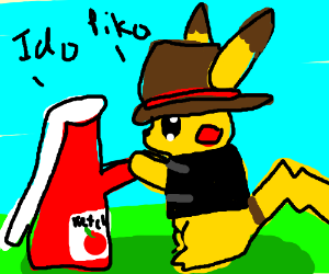 Pikachu gets married to ketchup bottle