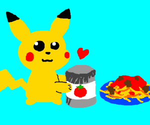 Pikachu loves tomato sauce.