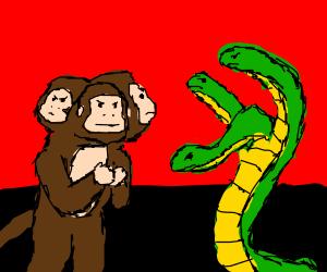 Three headed monkey vs three headed snake