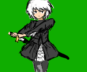 Gothic lolita with a sword