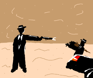One mobster shoots another in the desert