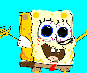 Spongebob with enlarged pupils