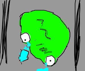 Green ooze sheds tears on sidewalk
