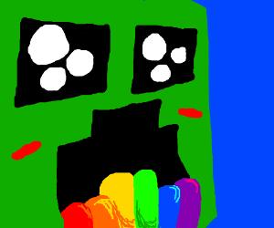 (MC) creeper spewing rainbow