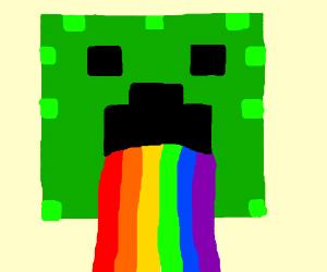 minceraft creeper trowing up rainbow