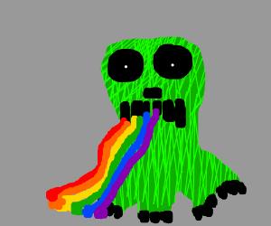 Creeper vomiting rainbow colours
