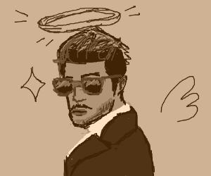 Dashing man with halo