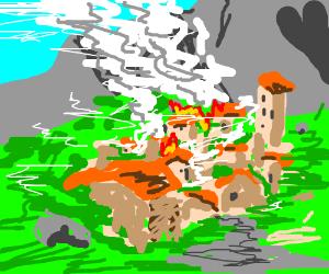 A mountain village burning
