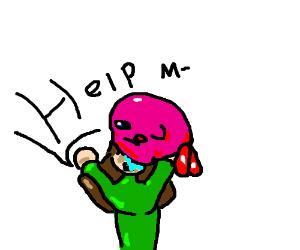 Kirby swallows a human girl.