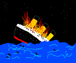 The titanic on fire