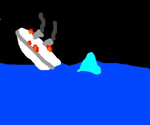 Titanic burning and sinking