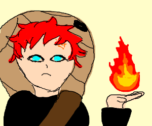 Guy From Naruto With Red Hair Holding Fireball