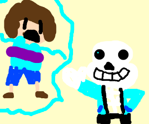 Scared Dora attacked by Sans the Skeleton