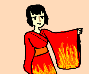 Woman in a Japanese dress detailed with fire