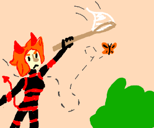 Demon chasing a butterfly