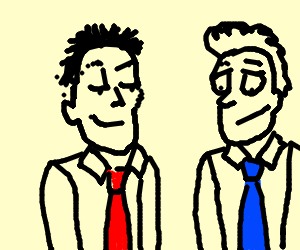 Men wearing different colored ties