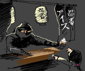 Ninja serves ice cream cones